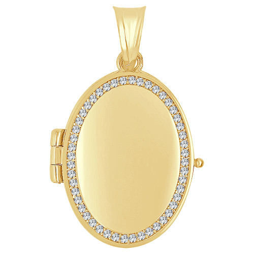 14k Yellow Gold, Locket Pendant Charms For Photos Oval Created CZ 21mm (P035-043)