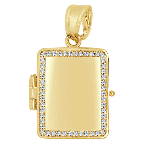 14k Yellow Gold, Locket Pendant Charms For Photos Rectangle Created CZ 19mm (P035-044)