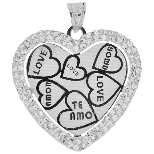 14k White Gold, Reversible Two Sided Laser Engraved Heart Pendant Love Charm Amor Created CZ 23mm (P035-054)