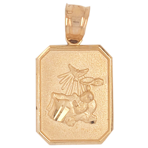 14k Yellow Gold, Small Light Weight Baptism Pendant Religious Charm Octagon 12mm (P036-001)