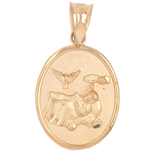 14k Yellow Gold, Small Light Weight Baptism Pendant Religious Charm Oval 13mm (P036-002)