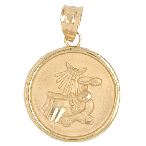 14k Yellow Gold, Small Light Weight Baptism Pendant Religious Charm Round 14mm (P036-003)