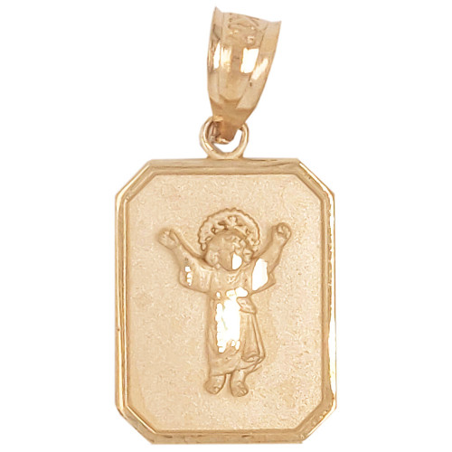14k Yellow Gold, Small Light Weight Divine Child Jesus Christ Pendant Religious Charm 12mm (P036-004)