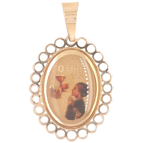 14k Yellow Gold, Small Religious Pendant Charm Boy Pray Grail Communion Oval 13mm (P036-032)