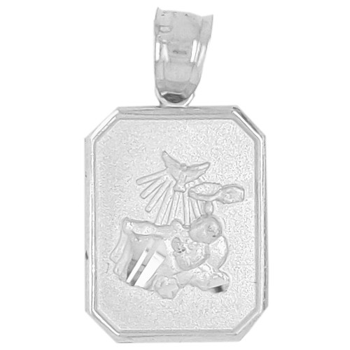 14k Gold White Rhodium, Small Light Weight Baptism Pendant Religious Charm 12mm (P036-051)