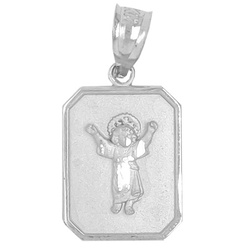 14k Gold White Rhodium, Small Light Weight Divine Child Jesus Christ Pendant Religious Charm 12mm (P036-054)