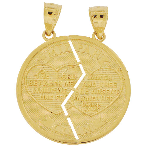 14K Yellow Gold, Sharing Split Mizpah Round Pendant Charm for Two 22mm (P037-027)