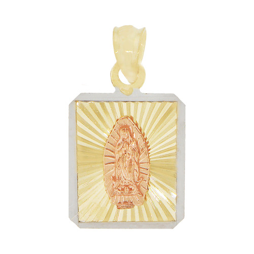 14k Yellow & Rose Gold, Virgin Mary Religious Pendant Square Charm 12mm (P038-030)