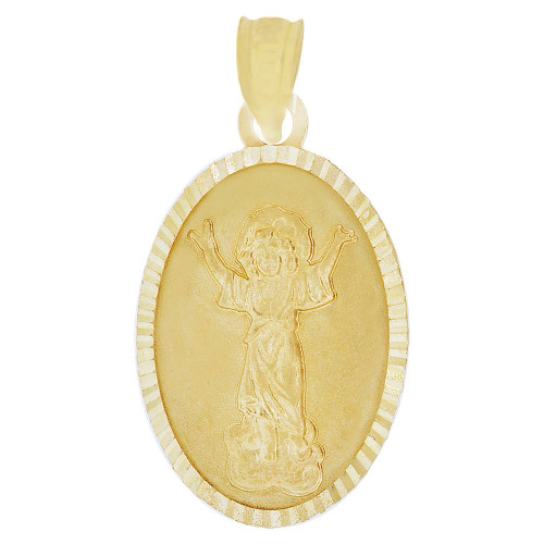14k Yellow Gold, Divine Infant Child Jesus Christ Religious Pendant Charm Oval 13mm (P038-032)