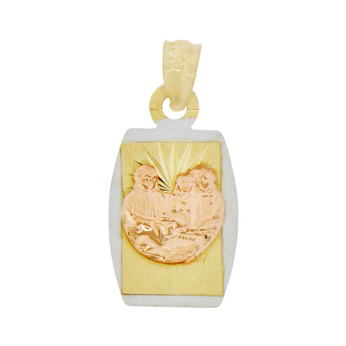 14k Yellow & Rose Gold, Baptism Christening Religious Pendant Charm 12mm (P038-034)