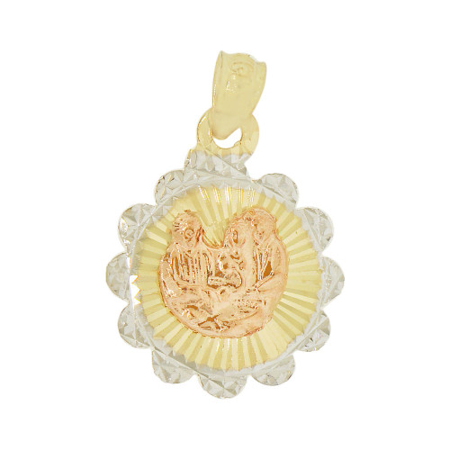 14k Yellow & Rose Gold, Baptism Christening Religious Pendant Charm 16mm (P038-037)