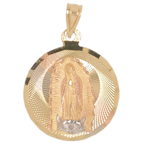 14k Tricolor Gold, Virgin Mary Religious Pendant Round Charm 27mm (P039-027)