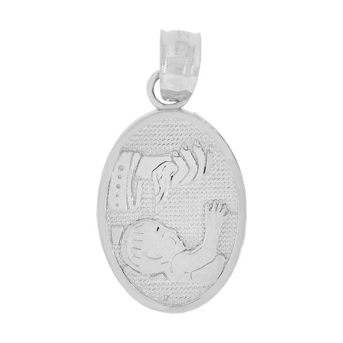 14k Gold White Rhodium, Small Religious Baptism Christening Pendant Charm Oval Medal 10mm (P040-080)