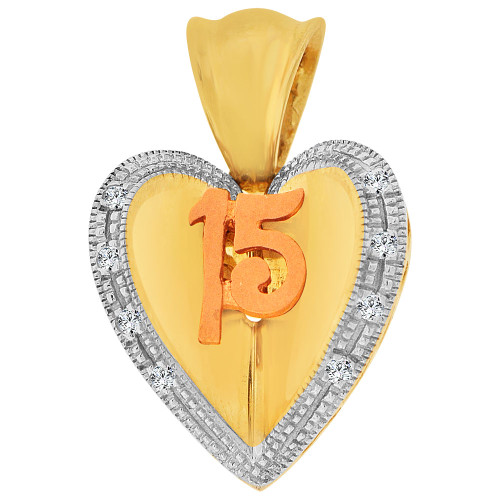 14k Yellow & Rose Gold, 15 Anos Heart Quinceanera Pendant Charm Created CZ 16mm (P044-025)