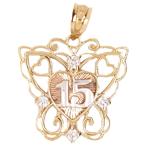 14k Tricolor Gold, Filigree Butterfly 15 Anos Heart Quinceanera Pendant Charm Created CZ 20mm (P045-020)