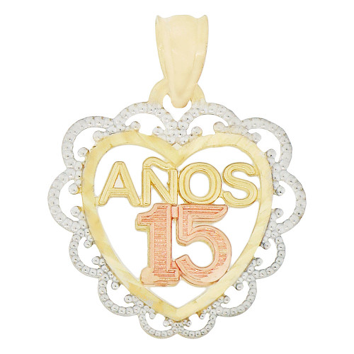 14k Tricolor Gold, 15 Anos Quinceanera Heart Pendant Charm Created CZ 18mm (P045-027)
