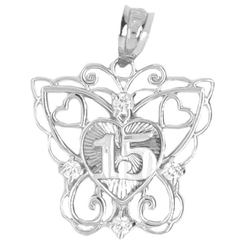 14k Gold White Rhodium, Filigree Butterfly 15 Anos Heart Quinceanera Pendant Charm Created CZ 20mm (P045-070)
