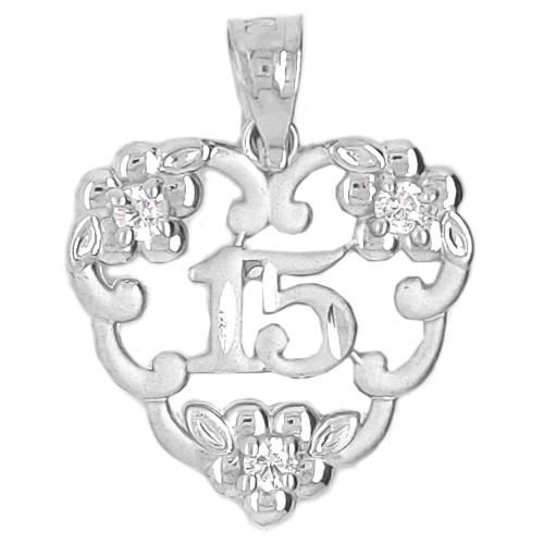 14k White Gold, 15 Anos Heart Quinceanera Pendant Charm Created CZ Crystals 17mm (P045-071)