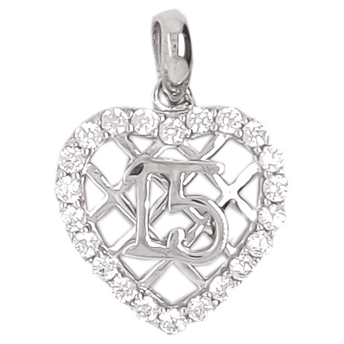 14k White Gold, 15 Anos Heart Quinceanera Pendant Charm Created CZ Crystals 13mm (P045-072)