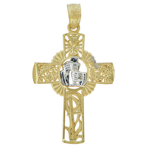 14k Yellow Gold, Sacred Communion Confirmation Cross Pendant Religious Charm 17mm (P046-043)