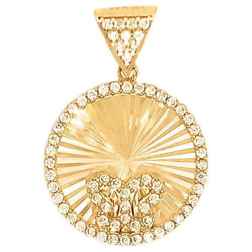 14k Yellow Gold, Facetted Disc Butterfly Pendant Charm Created CZ 15mm (P048-031)
