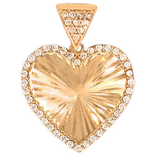14k Yellow Gold, Facetted Heart Pendant Charm Created CZ 17mm (P048-033)