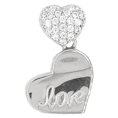 14k White Gold, Small Double Heart Pendant Love Charm Created CZ Crystals 11.5mm (P048-076)