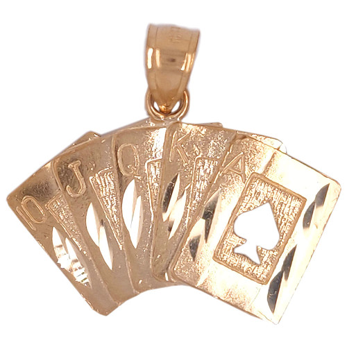 14k Yellow Gold, Playing Cards Royal Flush Pendant Charm 28mm (P049-029)