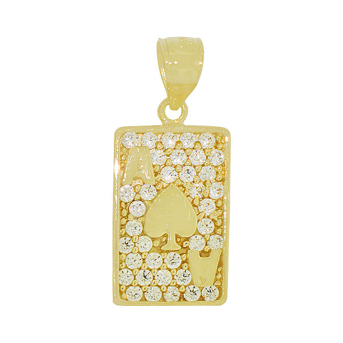 14k Yellow Gold, Playing Card Ace of Spades Pendant Charm Created CZ 11mm (P049-030)