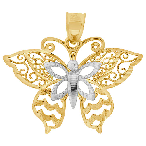 14k Yellow Gold, Filigree Butterfly Pendant Charm 24mm (P050-039)