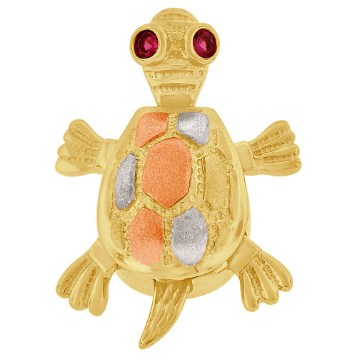 14k Tricolor Gold, Turtle Tortoise Pendant Charm Created CZ Crystals 15mm (P050-040)