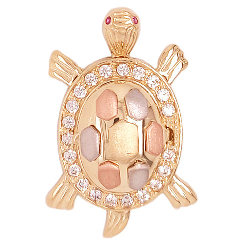14k Tricolor Gold, Fortune Luck Turtle Tortoise Open Lid Pendant Charm Created CZ 19mm (P050-043)