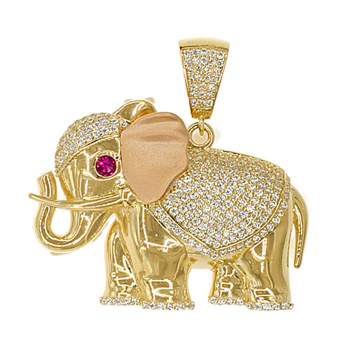 14k Yellow Gold, Fancy Elephant Pendant Charm Created CZ Crystals 38mm (P050-047)