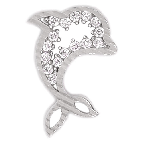 14k White Gold, Small Dolphin Pendant Charm Slider Created CZ 11.5mm (P050-054)
