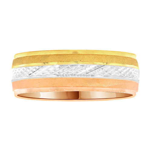 14k Tricolor Gold, Light Weight Band Ring Textured Full Diacut Design 6mm Width (R003-000)