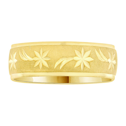 14k Yellow Gold, Light Weight Band Ring Textured Star Comet Diacut 6mm Width (R004-000)