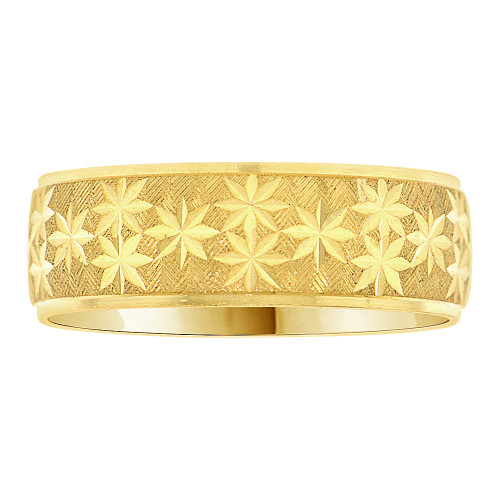 14k Yellow Gold, Light Weight Band Ring Textured Multi Star Diacut 6mm Width (R006-000)