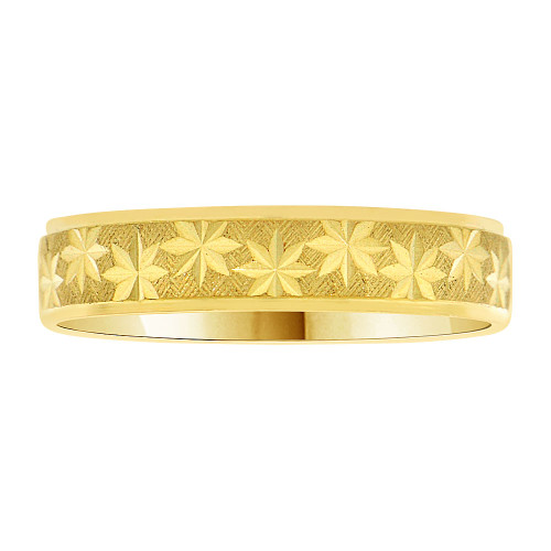 14k Yellow Gold, Light Weight Domed Band Ring Textured Multi Star Diacut 4mm Width (R007-000)