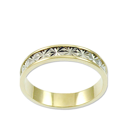14k Yellow and White Gold, Fancy Star Burst Cut Band Ring 4.5mm Width (R029-000)