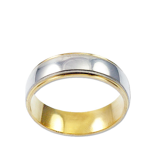 14k Yellow and White Gold, Milgrain Design Wedding Band 6mm Wide (R031-000)
