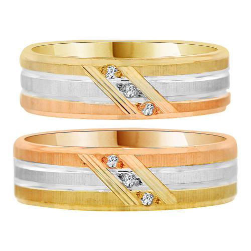 14k Tricolor Gold, Matching His and Her Wedding Bands Each 6mm Width Created CZ Crystals (R035-002)