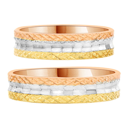 14k Tricolor Gold, Matching His and Her Wedding Bands Diacut Each 5mm Width (R035-003)