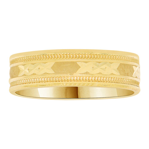 14k Yellow Gold, Fancy Diacut and Milgrain Design Band Ring 5mm Width (R037-200)
