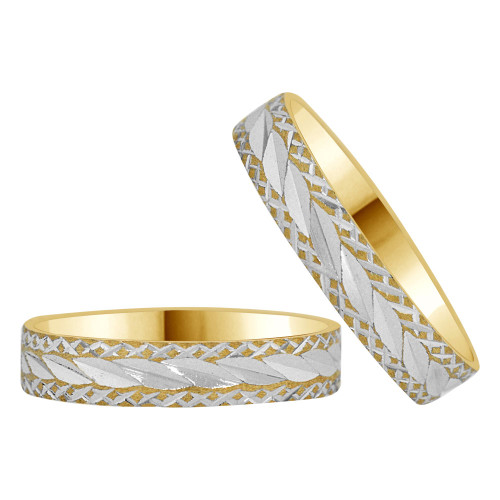 14k Yellow Gold White Rhodium, His & Her Band Rings 4mm Wide Diacut (R038-001)