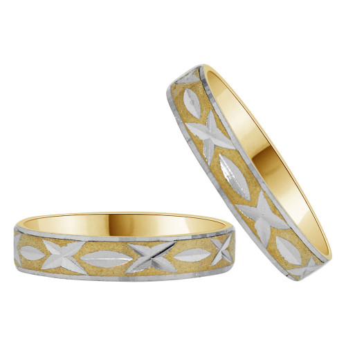 14k Yellow Gold White Rhodium, His & Her Band Rings 4mm Wide Diacut (R038-002)