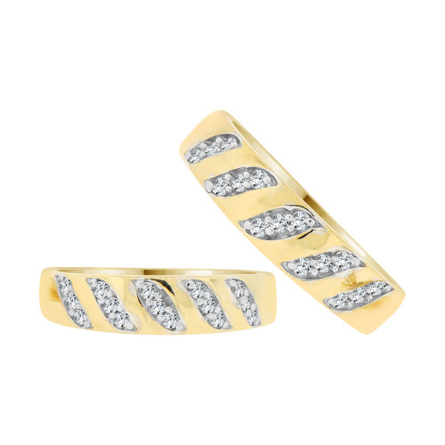 14k Yellow Gold White Rhodium, His & Her Duo Band Rings Cubic Zirconia (R038-022)