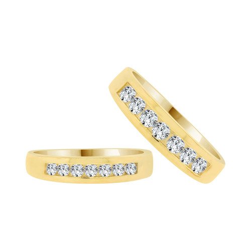 14k Yellow Gold, His & Her Duo Band Rings Cubic Zirconia (R038-023)
