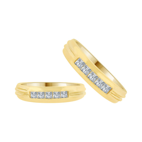 14k Yellow Gold, His & Her Duo Band Rings Cubic Zirconia (R038-024)