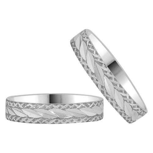 14k White Gold, His & Her Duo Wedding Band Rings 4mm Wide Diacut (R038-051)