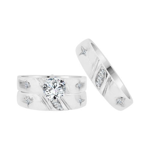 14k White Gold, His & Her Trio 3 Piece Wedding Ring with Cubic Zirconia 1.0ct (R038-055)